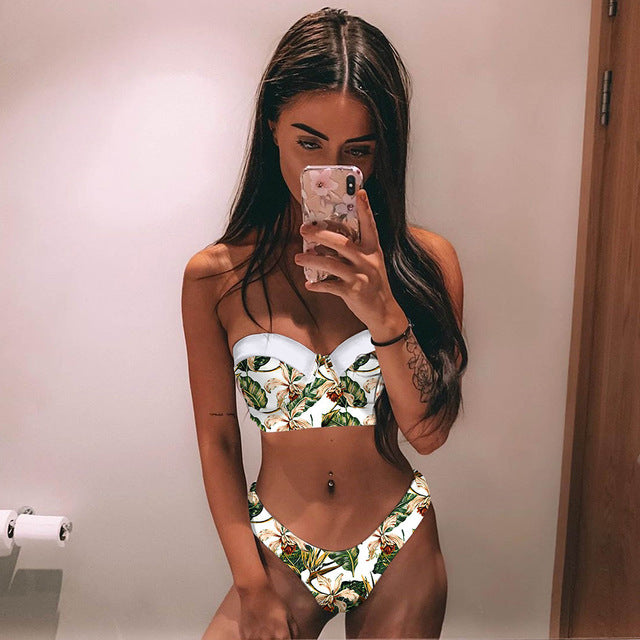 Printed Brazilian Bikini Set Push Up Bathing Suit