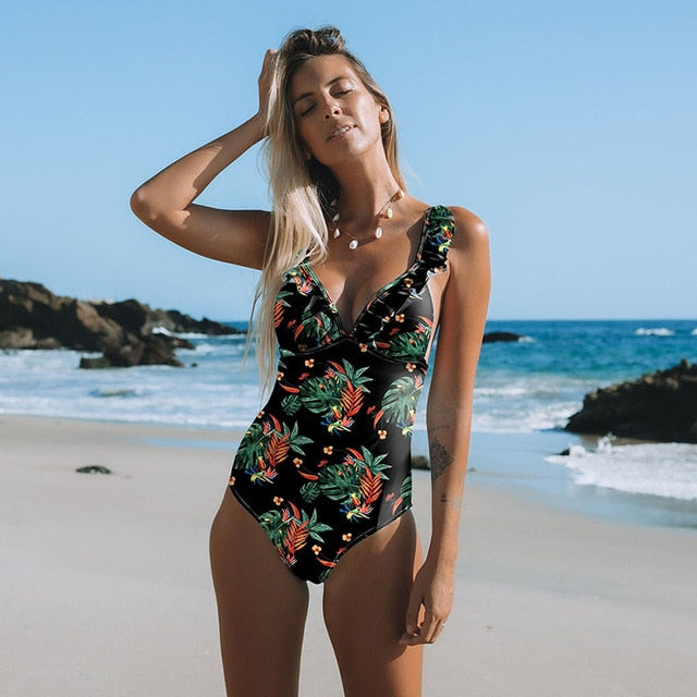 Sexy One Piece Swimsuit Female Printed Floral