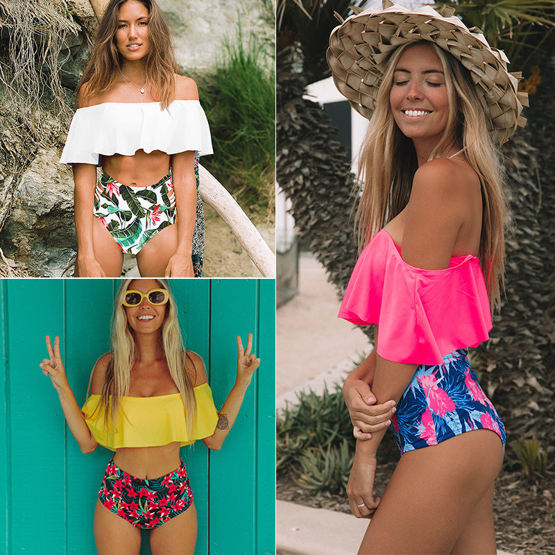 Women Swimsuit Shoulder Ruffle Bathing Suits