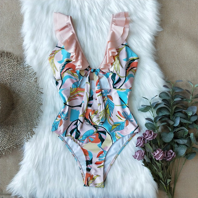 2020 Sexy One Piece Print Floral Bandage Shoulder