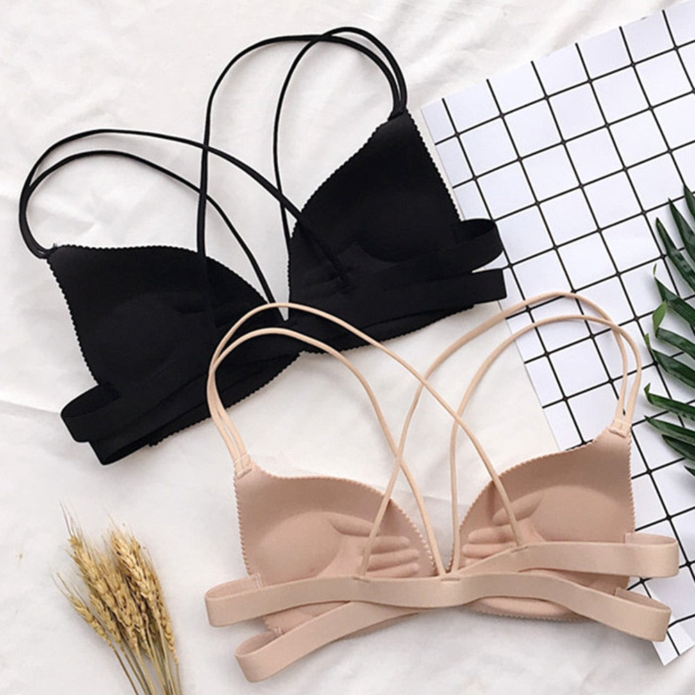 Women Back Beautify Front Closure Wire Free bra
