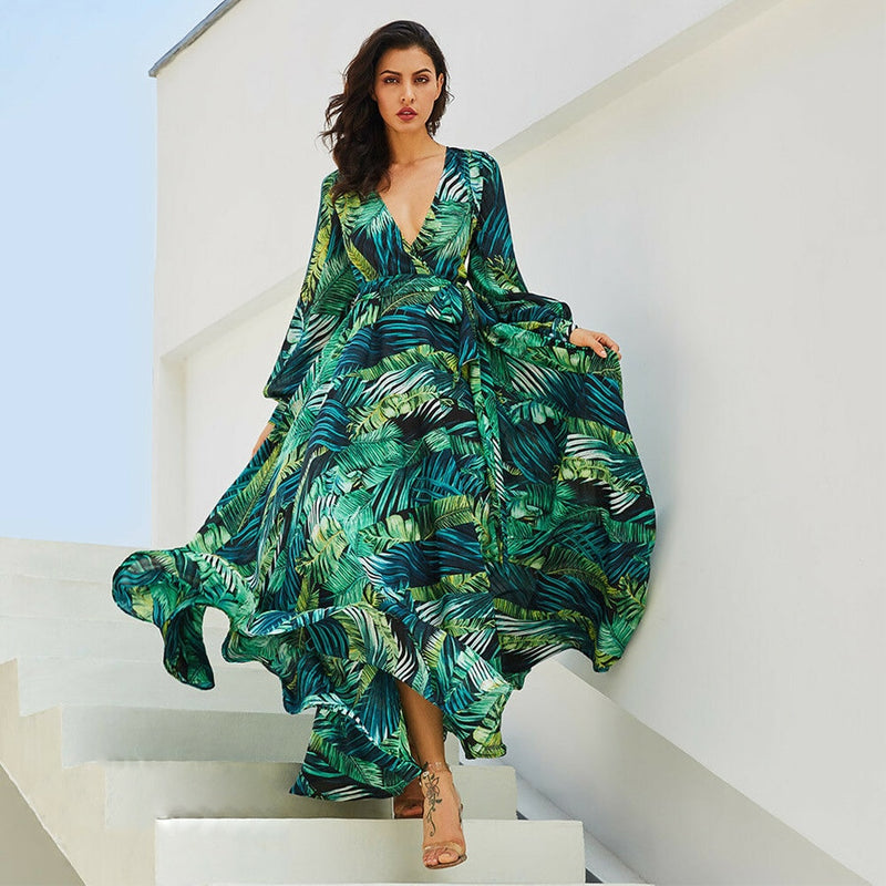 Leaf Print Long Dress Ladies Long Sleeve V Neck  Maxi Dress