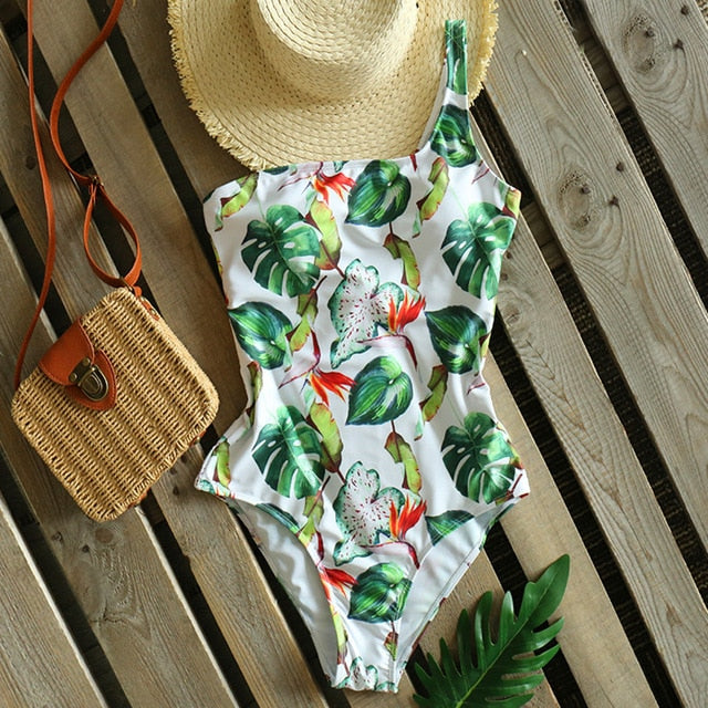 Women One Shoulder Swimwear Print Bathing Suits