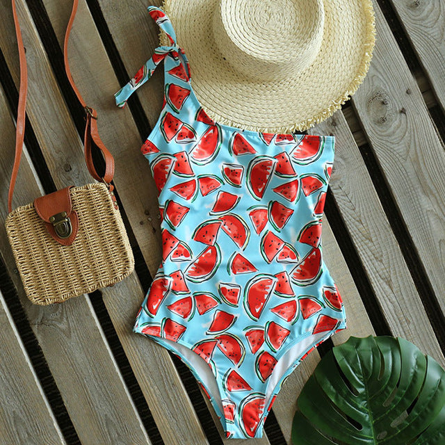 Sexy One Shoulder Swimwear 2020 New Printed One Piece