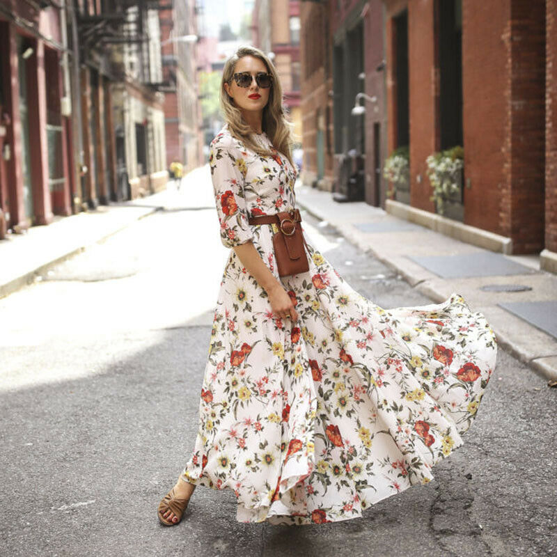 Women's Maxi Boho Dress Floral Summer Beach
