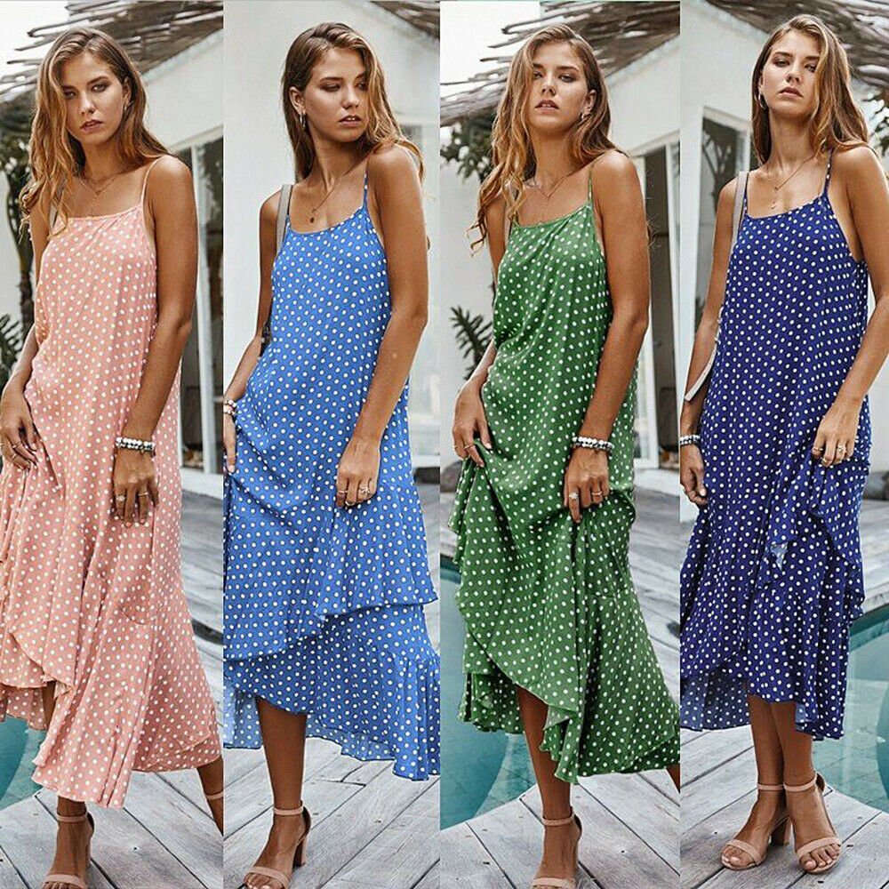 Casual Holiday irregular Sundress Strappy Polka Dot