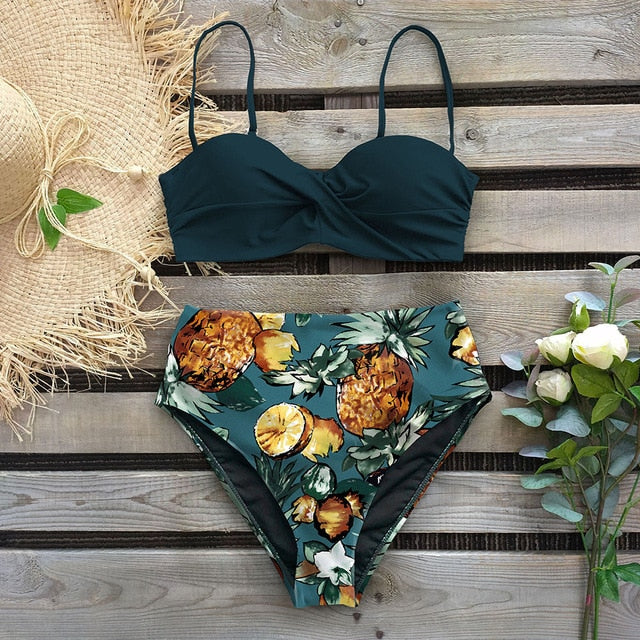 Leaf Print Thong Push Up Bikinis Set