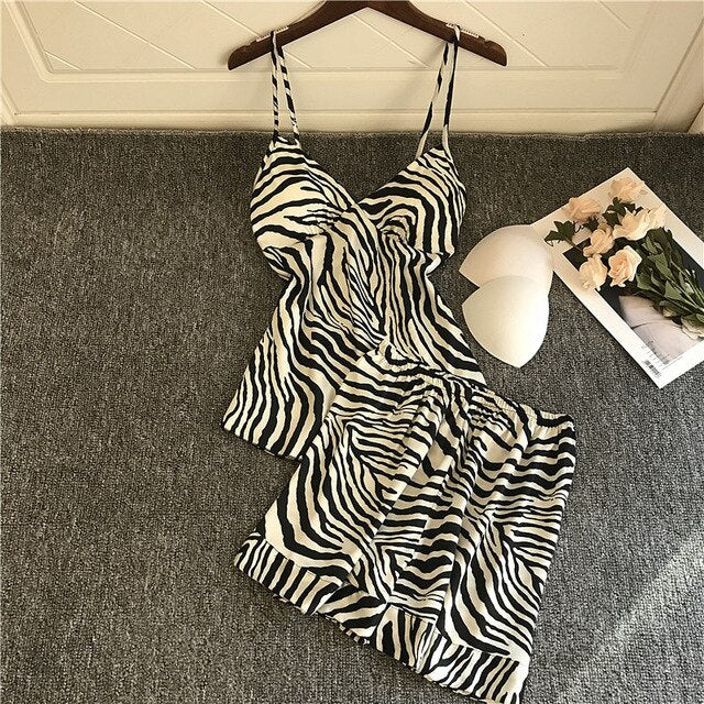 Sexy Lounge Wear Zebra Print Silk Pyjamas