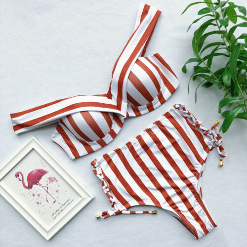 Women Sexy Striped High Waisted Swimwear Brazilian Strapless Shoulder Bandage Bikini Set Beachwear Swimsuit