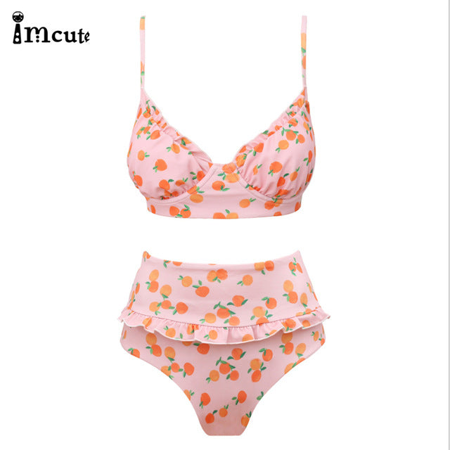 2PCS Underwire Cherry Printed Bikini Set