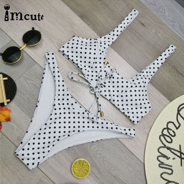Adjustable Spaghetti Strap Dot Print Sexy Push-Up Bikini Set