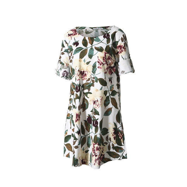 Floral Printed Long Sleeve Tunic Tops O Neck Casual Dress