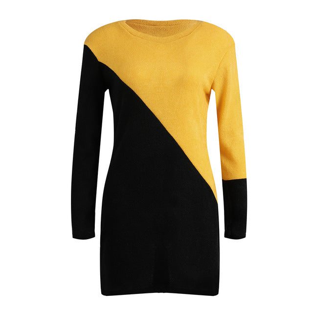 Women Knitted Long Sweater Bodycon Mini Dress