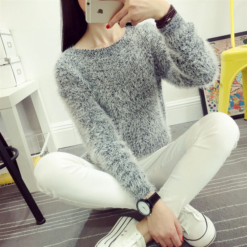 Mohair O-Neck Pullover Long Sleeve Casual Loose Sweater
