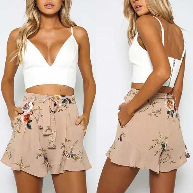 Loose belt casual thin mid casual shorts