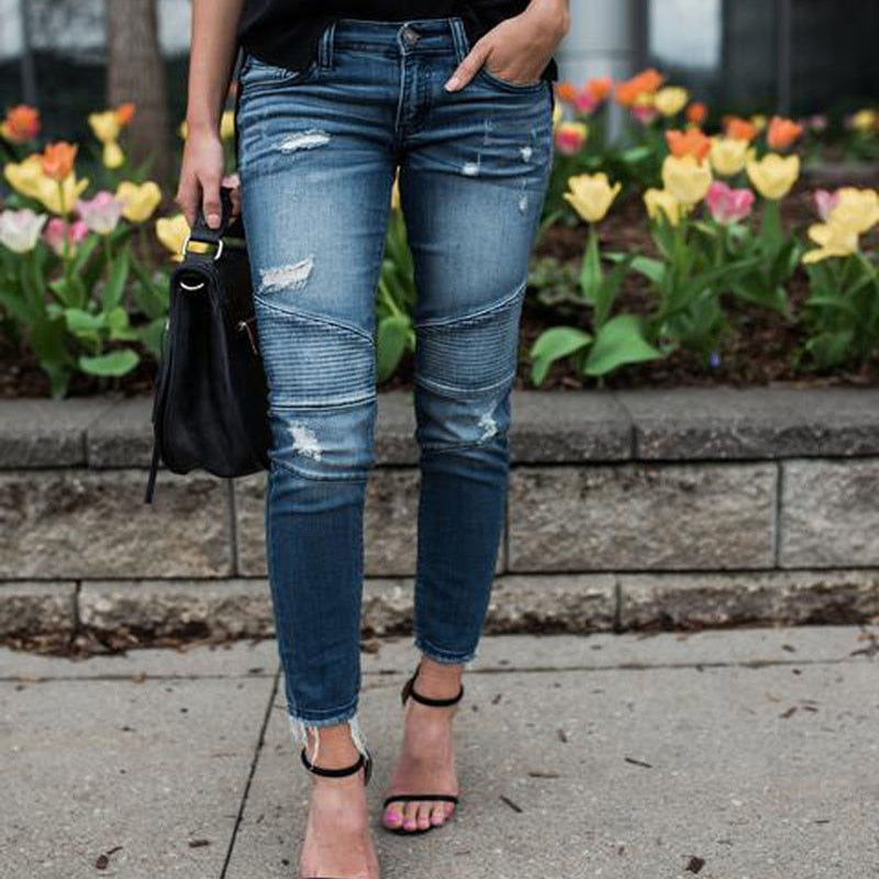 Destroyed Pleated Stretch Jeans