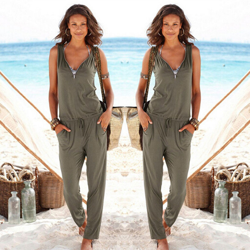 women Sleeveless long romper jumpsuit