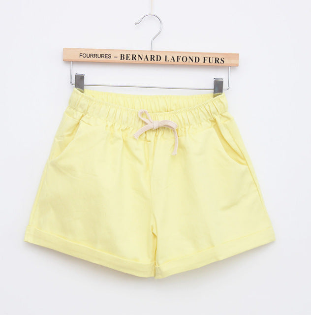 Women Candy Color Elastic With Belt  Shorts