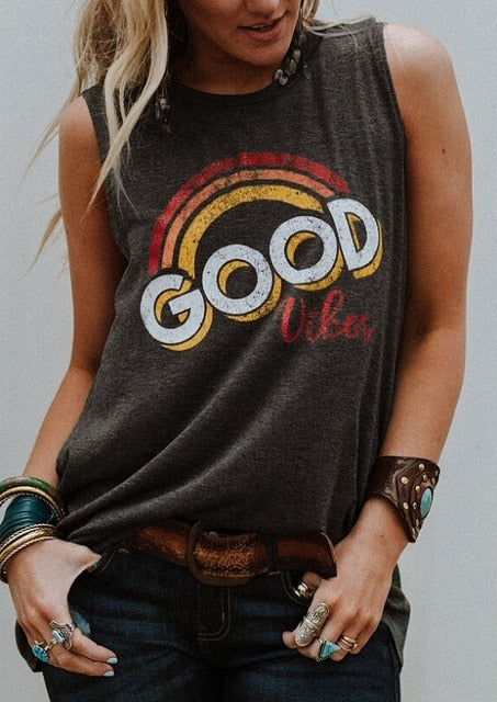 New Women  Good Vibes O-Neck Tank Tops