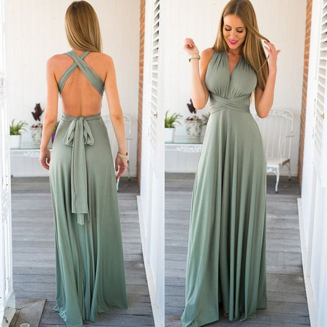 Women Multiway Wrap Convertible Boho Maxi Dress