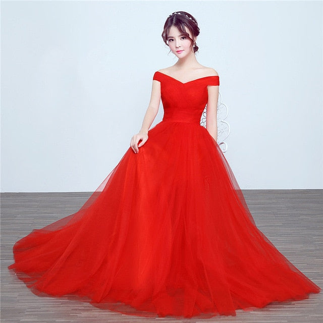 Elegant long wedding party dress