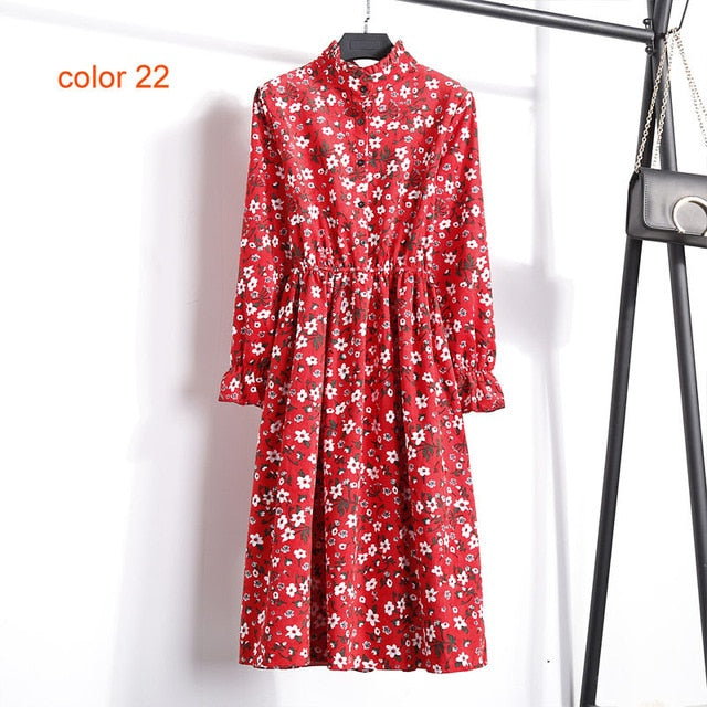 Corduroy Floral Print Women Elastic Waist Dress