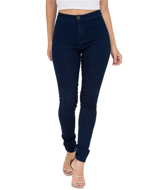 Woman Blue Denim Pencil Pants Jeans