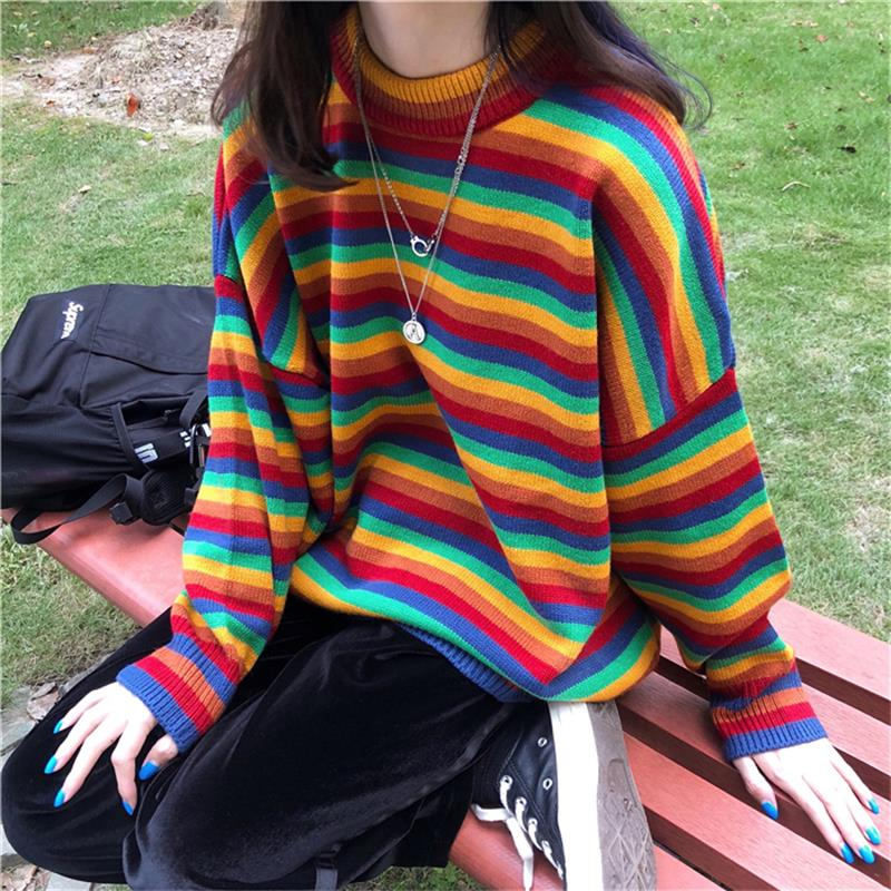 Female Korean Hong Kong-flavored Loose Striped Sweater