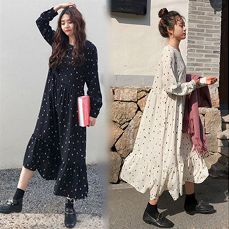 European Style Brand Cothing Loose Long Sleeve Women Dresses