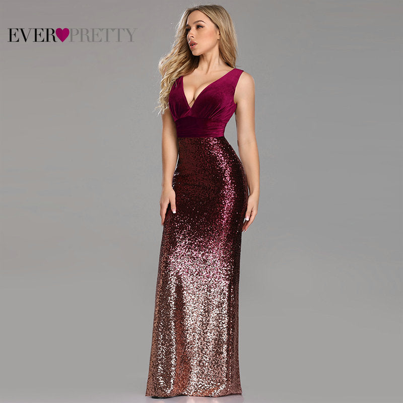 V-neck Sleeveless Mermaid Burgundy Long Evening Dress