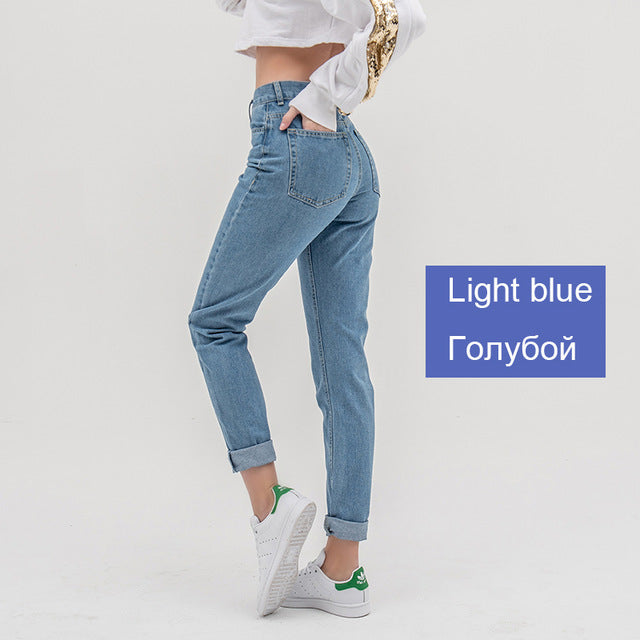 High waist push up large size ladies jeans