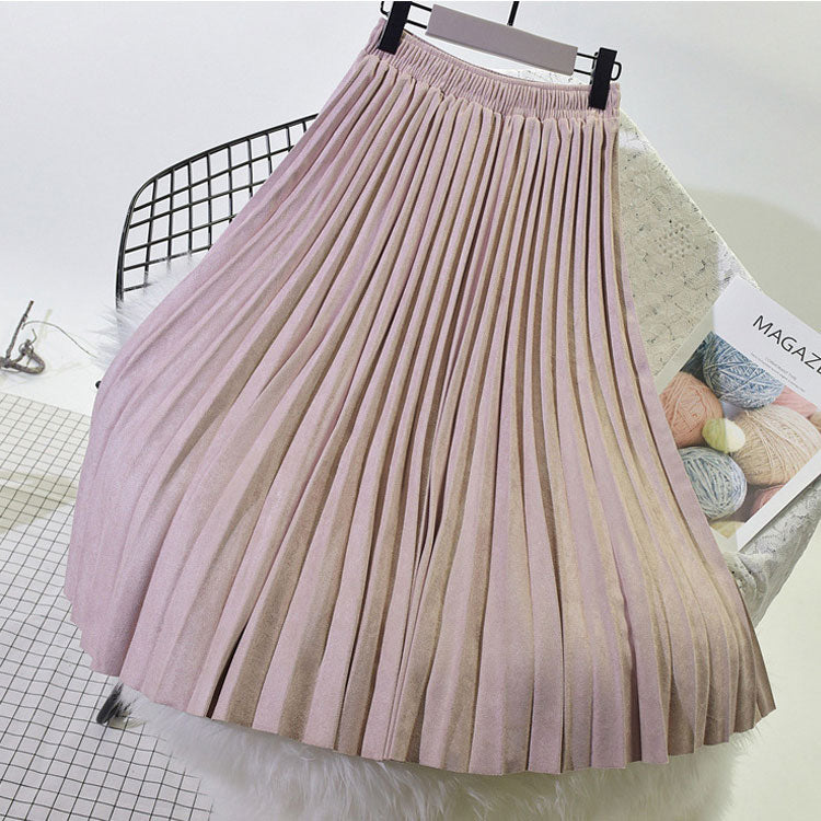Two Layer Women Suede Skirt