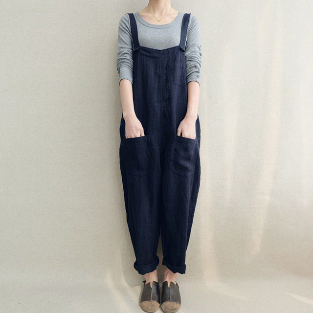 Loose Casual Cotton Linen Rompers Long Jumpsuits