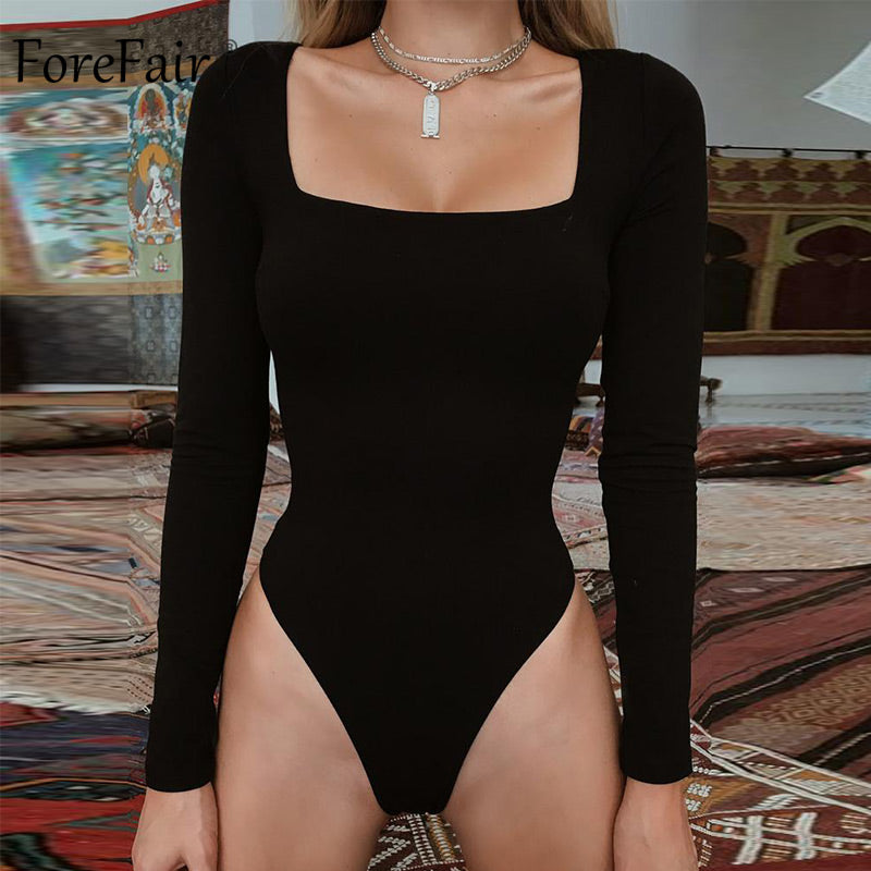 Long Sleeve Square Neck Sheath Open Bodycon Bodysuit
