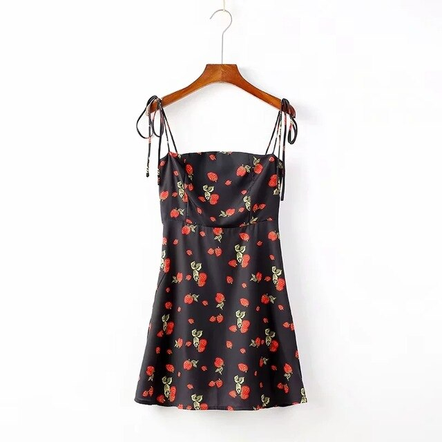 Fit And Flare Strawberry Print Cami Dress