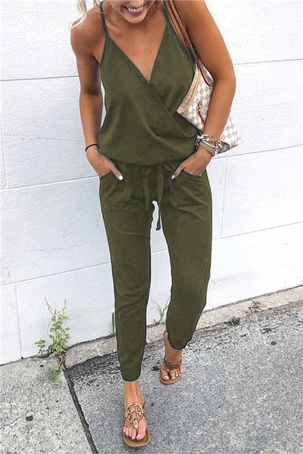 Cross Strap Lace Up Jumpsuits