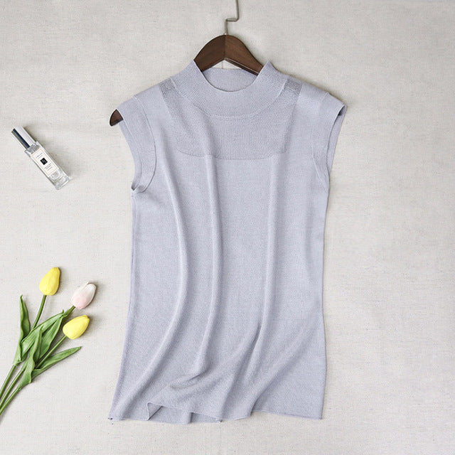 Half High Collar Tank Tops