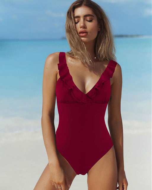 Ruffle Women One Piece Swimsuit Print