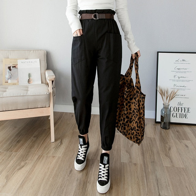 Female solid high waist loose harem pant