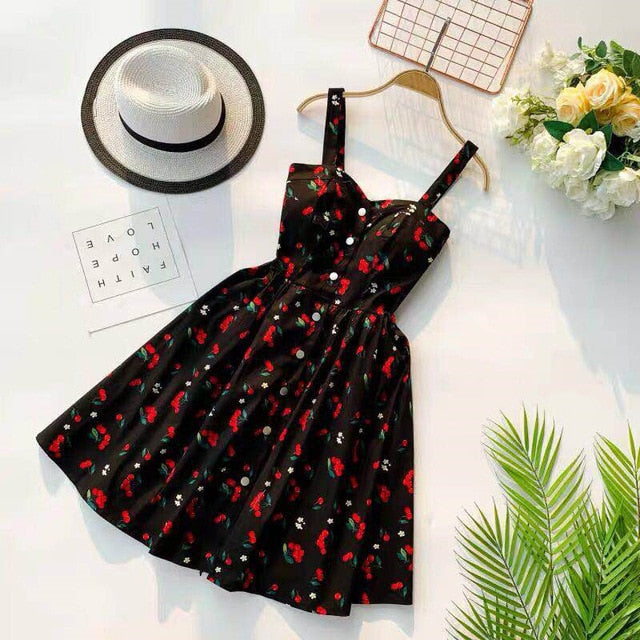 Women Spaghetti Strap Print Floral Sleeveless dress