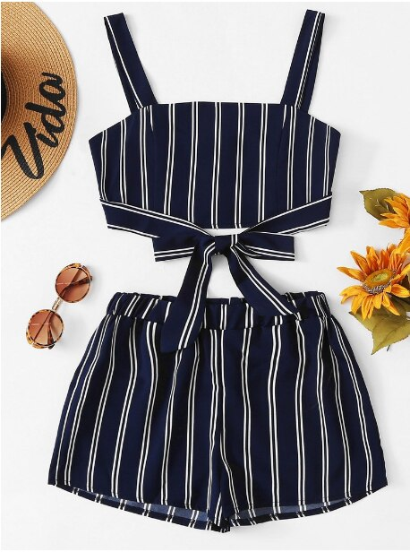 Off Shoulder Cinched Floral Set Striped Shorts Set