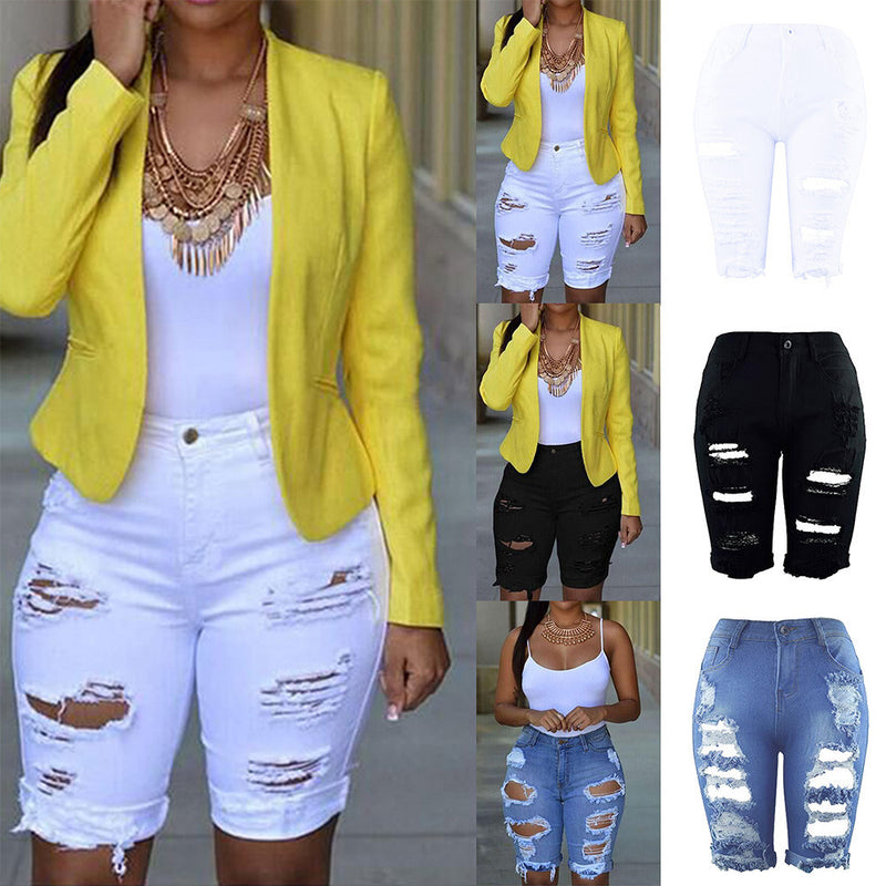 Women Elastic Destroyed Denim Shorts Ripped Jeans