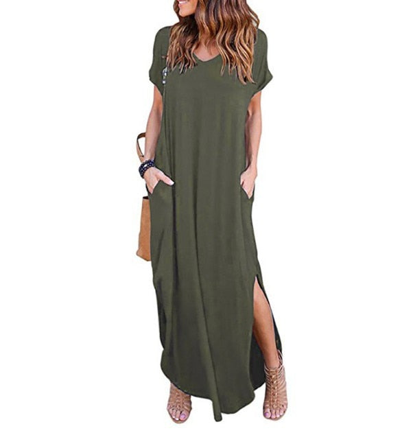 Solid Casual Short Sleeve Maxi dress
