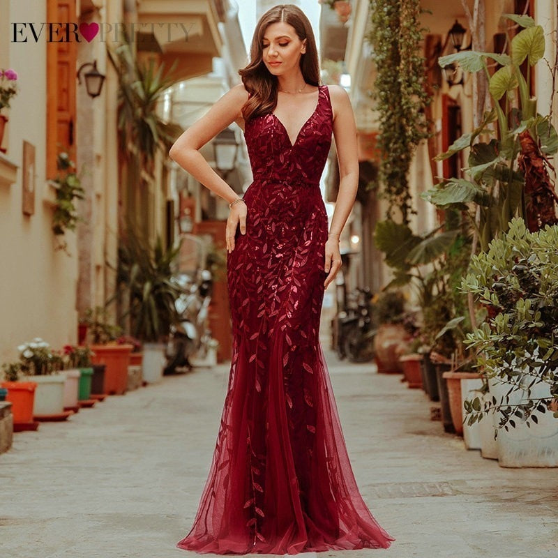 Burgundy Evening Dress for women