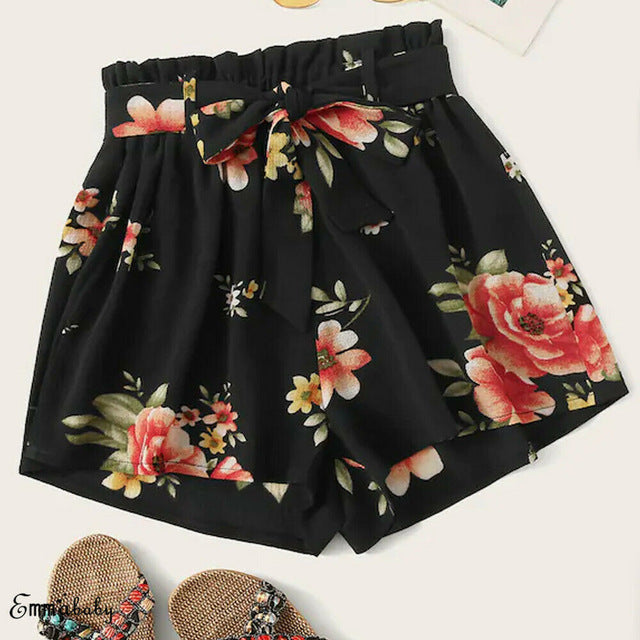 Chiffon Elastic Waist Lace Up Floral Loose Shorts