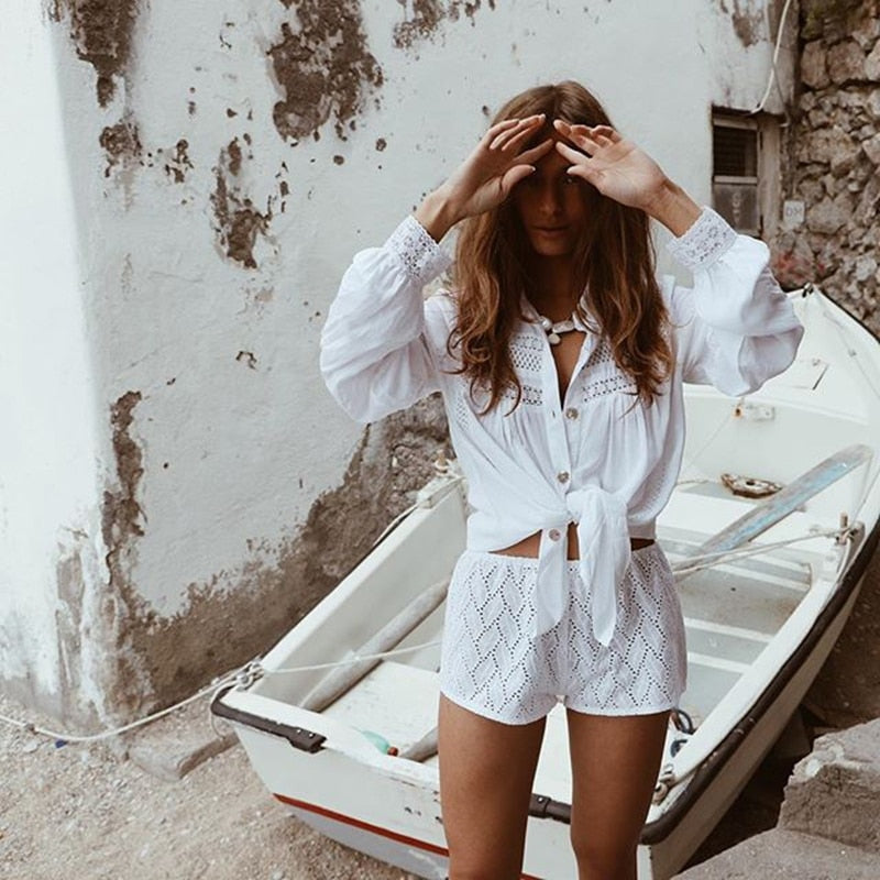 New Sexy Beach Cover Up Swimsuit White Lace Beach Dress
