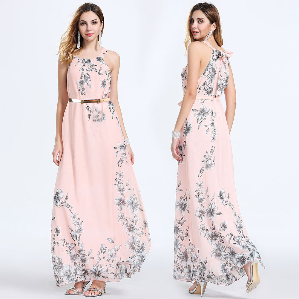 Floral Dress Boho Chiffon Sleeveless Evening Party Long Maxi Dresses