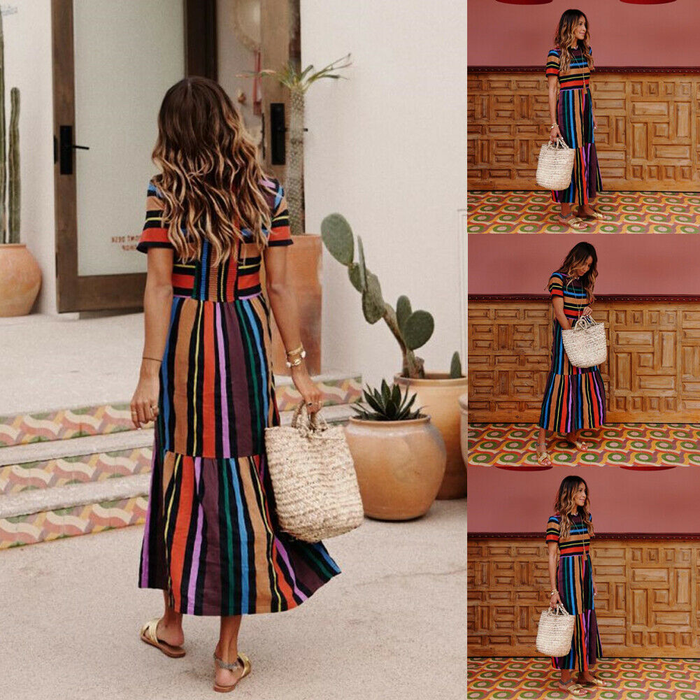 Floral Long Maxi Rainbow  Strip Dress