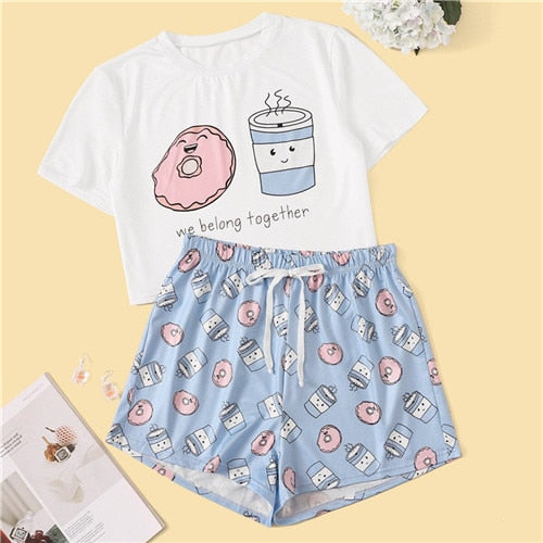 Woman Cartoon And Letter Print Pajama Set