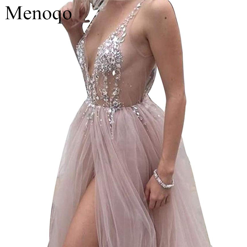 Backless Tulle Long Prom Dress